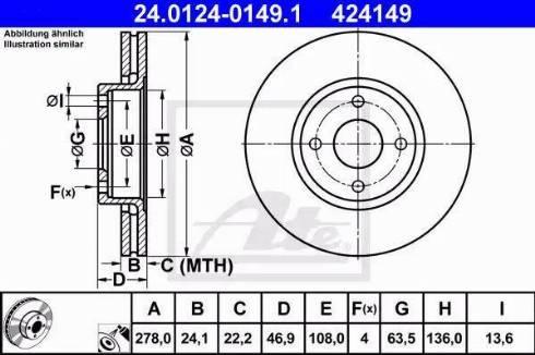 ATE 24.0124-0149.1 - Bremžu diski interparts.lv