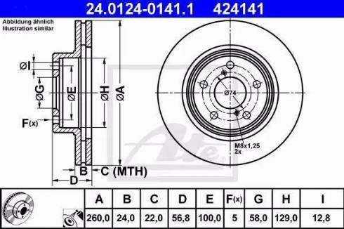 ATE 24.0124-0141.1 - Bremžu diski interparts.lv