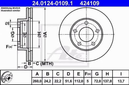 ATE 24.0124-0109.1 - Bremžu diski interparts.lv