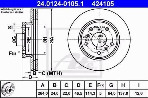 ATE 24.0124-0105.1 - Bremžu diski interparts.lv