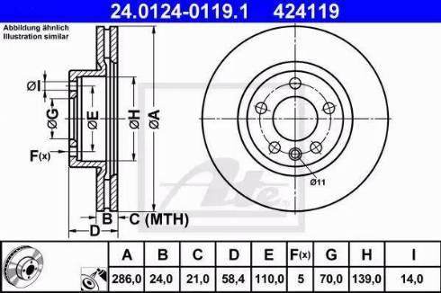 ATE 24.0124-0119.1 - Bremžu diski interparts.lv