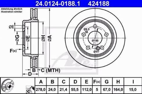 ATE 24.0124-0188.1 - Bremžu diski interparts.lv