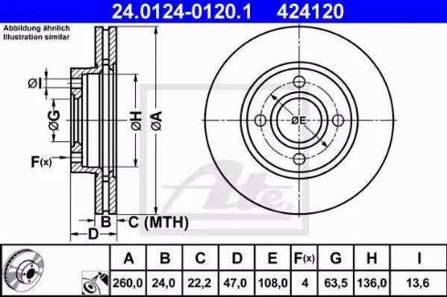 ATE 24.0124-0120.1 - Bremžu diski interparts.lv