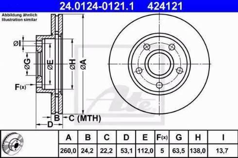 ATE 24.0124-0121.1 - Bremžu diski interparts.lv