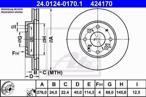ATE 24.0124-0170.1 - Bremžu diski interparts.lv