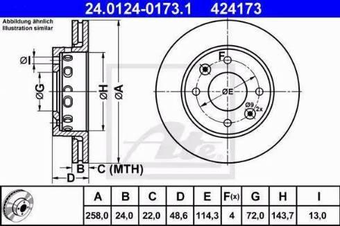 ATE 24.0124-0173.1 - Bremžu diski interparts.lv