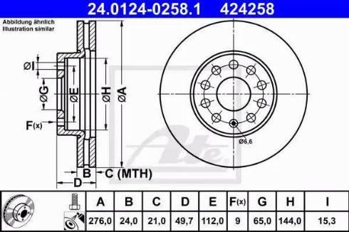 ATE 24.0124-0258.1 - Bremžu diski interparts.lv