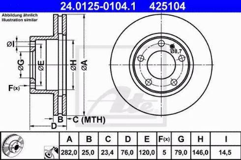 ATE 24.0125-0104.1 - Bremžu diski interparts.lv