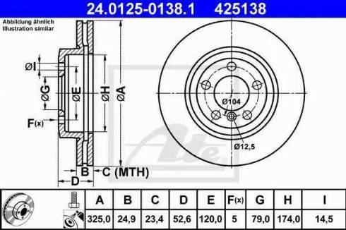 ATE 24.0125-0138.1 - Bremžu diski interparts.lv