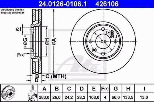 ATE 24.0126-0106.1 - Bremžu diski interparts.lv