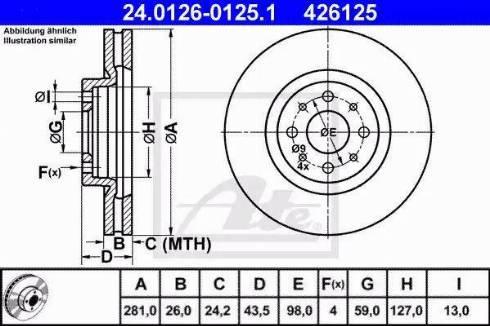 ATE 24.0126-0125.1 - Bremžu diski interparts.lv