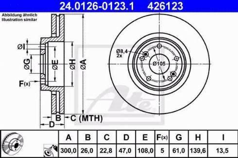 ATE 24.0126-0123.1 - Bremžu diski interparts.lv