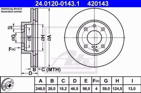 ATE 24.0120-0143.1 - Bremžu diski interparts.lv
