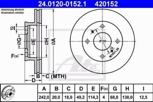 ATE 24.0120-0152.1 - Bremžu diski interparts.lv