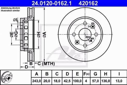 ATE 24.0120-0162.1 - Bremžu diski interparts.lv