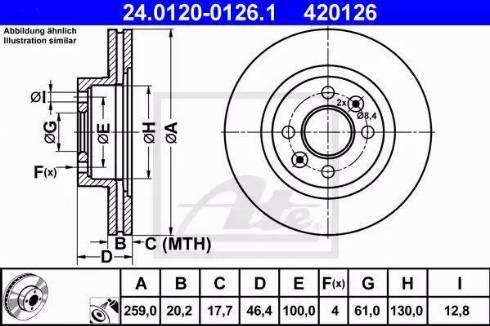 ATE 24.0120-0126.1 - Bremžu diski interparts.lv