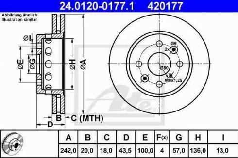 ATE 24.0120-0177.1 - Bremžu diski interparts.lv