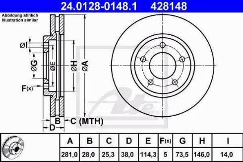 ATE 24.0128-0148.1 - Bremžu diski interparts.lv