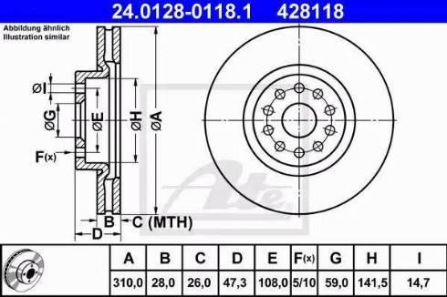 ATE 24.0128-0118.1 - Bremžu diski interparts.lv
