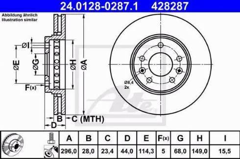 ATE 24.0128-0287.1 - Bremžu diski interparts.lv