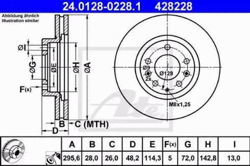 ATE 24.0128-0228.1 - Bremžu diski interparts.lv