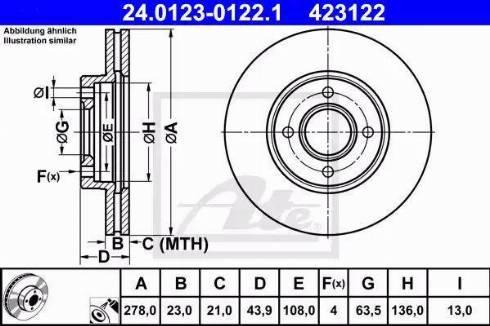 ATE 24.0123-0122.1 - Bremžu diski interparts.lv