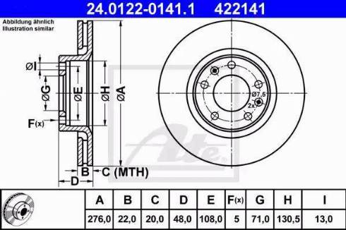 ATE 24.0122-0141.1 - Bremžu diski interparts.lv