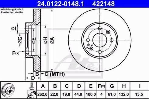 ATE 24.0122-0148.1 - Bremžu diski interparts.lv