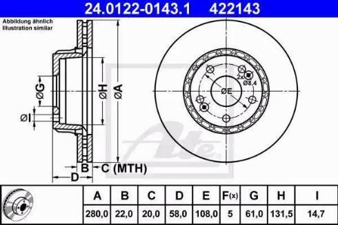 ATE 24.0122-0143.1 - Bremžu diski interparts.lv