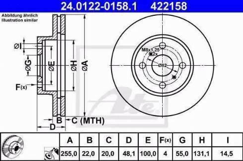 ATE 24.0122-0158.1 - Bremžu diski interparts.lv