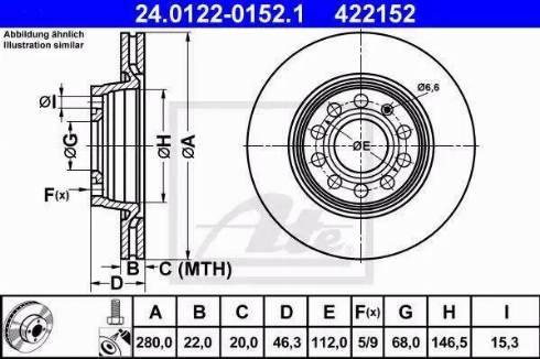 ATE 24.0122-0152.1 - Bremžu diski interparts.lv