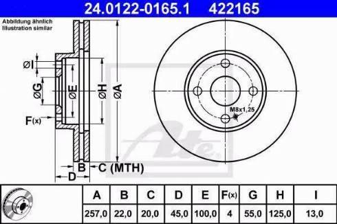 ATE 24.0122-0165.1 - Bremžu diski interparts.lv