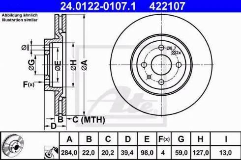ATE 24.0122-0107.1 - Bremžu diski interparts.lv