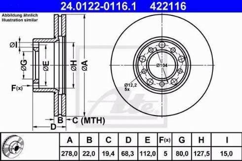 ATE 24.0122-0116.1 - Bremžu diski interparts.lv