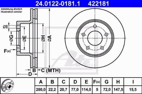 ATE 24.0122-0181.1 - Bremžu diski interparts.lv