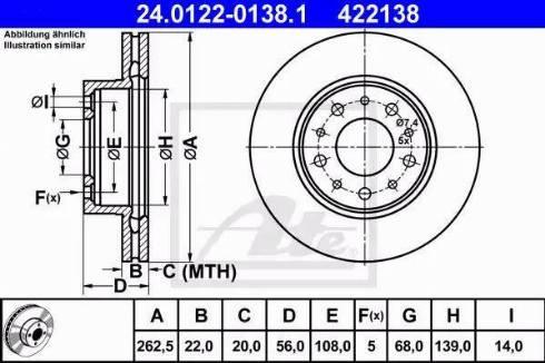 ATE 24.0122-0138.1 - Bremžu diski interparts.lv