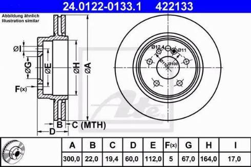 ATE 24.0122-0133.1 - Bremžu diski interparts.lv
