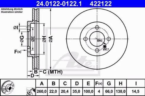 ATE 24.0122-0122.1 - Bremžu diski interparts.lv