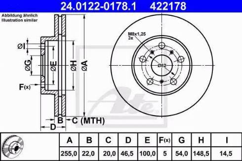 ATE 24.0122-0178.1 - Bremžu diski interparts.lv