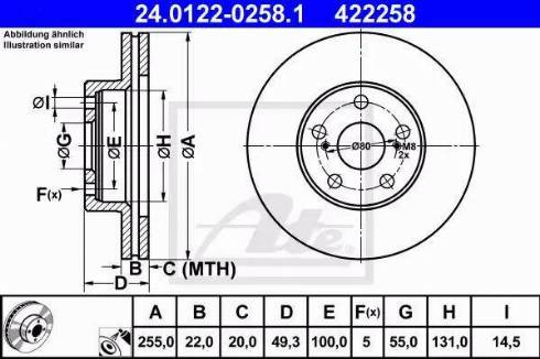 ATE 24.0122-0258.1 - Bremžu diski interparts.lv