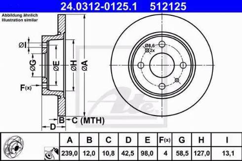 ATE 24.0312-0125.1 - Bremžu diski interparts.lv