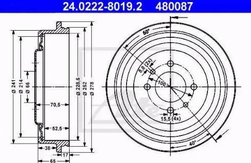 ATE 24.0222-8019.2 - Bremžu trumulis interparts.lv