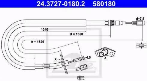 ATE 24.3727-0180.2 - Trose, Stāvbremžu sistēma interparts.lv
