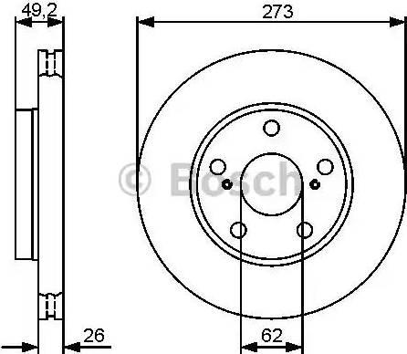 BOSCH 0 986 479 425 - Bremžu diski interparts.lv