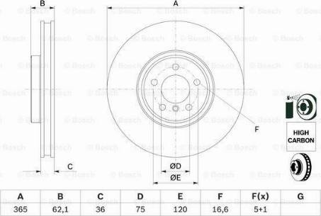BOSCH 0 986 479 635 - Bremžu diski interparts.lv