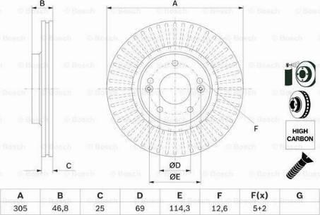 BOSCH 0 986 479 E42 - Bremžu diski interparts.lv