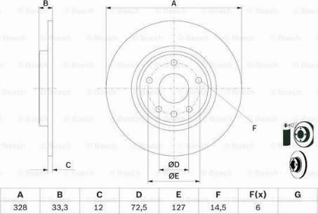 BOSCH 0 986 479 E57 - Bremžu diski interparts.lv