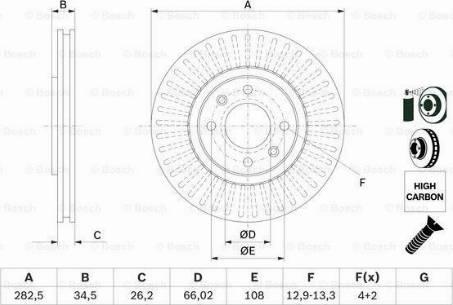 BOSCH 0 986 479 E67 - Bremžu diski interparts.lv