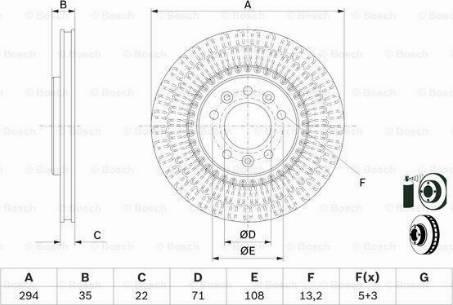 BOSCH 0 986 479 E32 - Bremžu diski interparts.lv