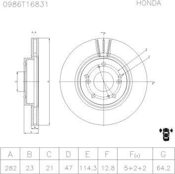 BOSCH 0 986 AB6 831 - Bremžu diski interparts.lv